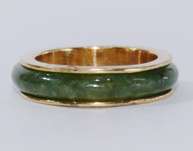 10K Yellow Gold Cabochon Dark Green Jade Infinity Ring Size 6