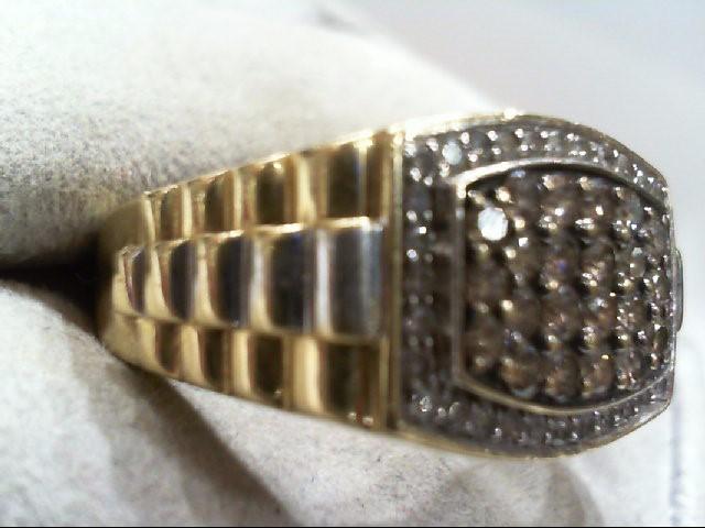 Gent's Diamond Cluster Ring 54 Diamonds 1.20 Carat T.W. 10K 2 Tone Gold 6.5g