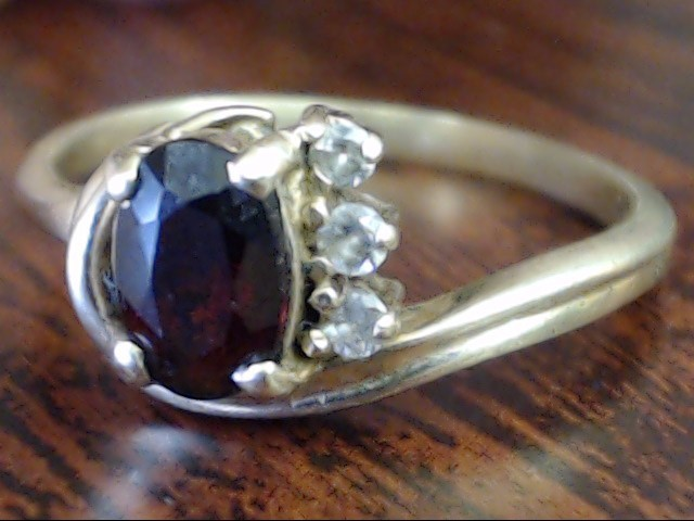 VINTAGE OVAL CUT RED GARNET DIAMOND RING SOLID 14K REAL GOLD SIZE 6