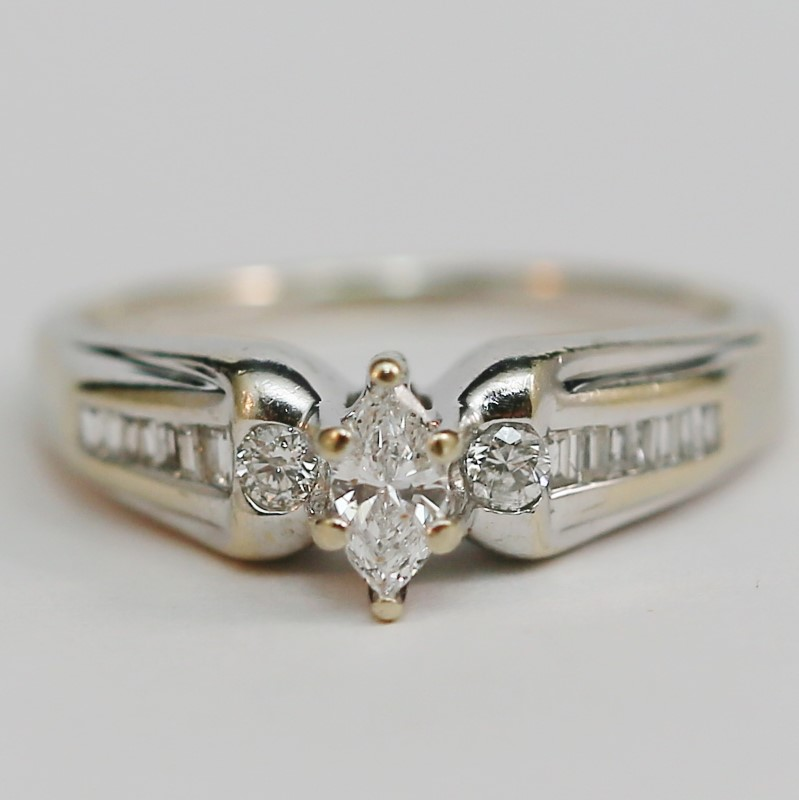 14K W/G Marquise, Round and Baguette Cut Diamond Engagment Size 8.5