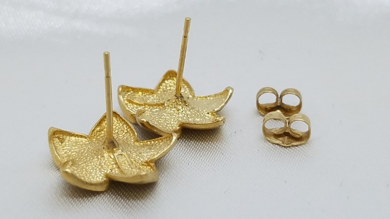 Plumeria Gold Earrings 14K Yellow Gold 2.7g