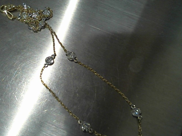 "18"" Diamond Necklace 10 Diamonds 1.00 Carat T.W. 14K 2 Tone Gold 3.5g"