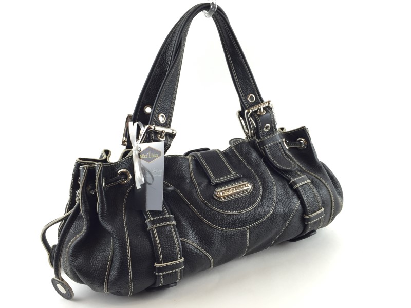 ISABELLA FIORE BLACK LEATHER LARGE SATCHEL
