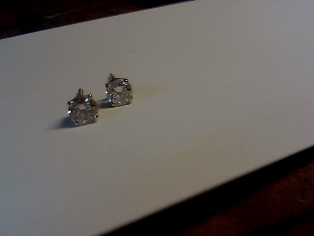 Gold-Diamond Earrings 2 Diamonds .50 Carat T.W. 14K White Gold 0.05g