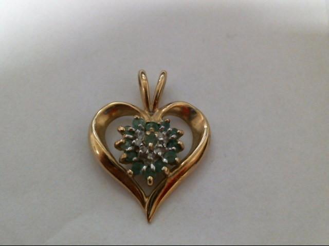 Green Stone Gold-Diamond & Stone Pendant 6 Diamonds .06 Carat T.W.