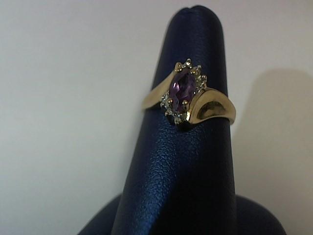 Purple Stone Lady's Stone Ring 10K Yellow Gold 1.7g Size:6.5