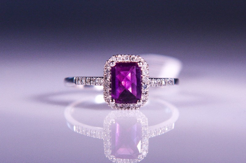 Synthetic Amethyst Lady's Stone & Diamond Ring 34 Diamonds .34 Carat T.W.