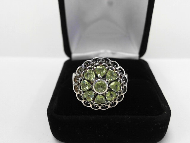 Synthetic Peridot Lady's Silver & Stone Ring 925 Silver 4.4dwt