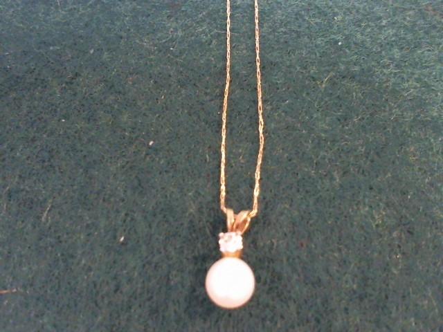 Synthetic Pearl Gold-Diamond & Stone Pendant .01 CT. 10K Yellow Gold 0.7g