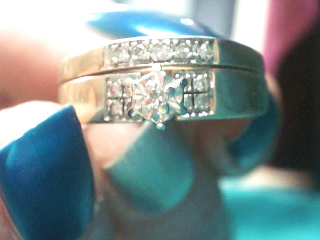 Lady's Diamond Wedding Set 14 Diamonds .14 Carat T.W. 10K Yellow Gold 3.2dwt