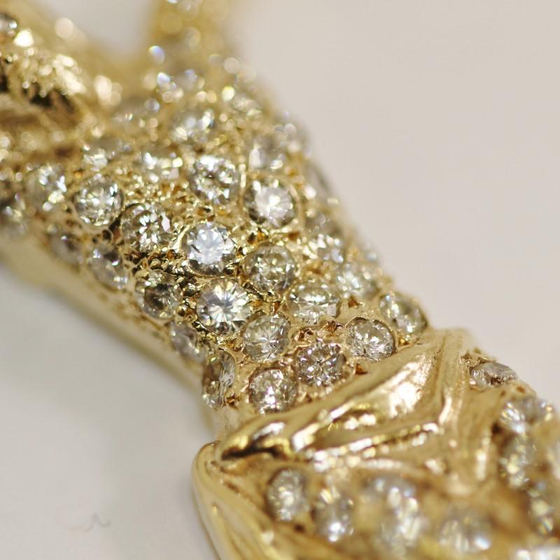 14K Yellow Gold Round Brilliant Diamond Encrusted Crucifix Pendant