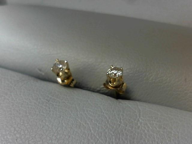 Gold-Diamond Earrings 2 Diamonds .14 Carat T.W. 14K Yellow Gold 0.3g