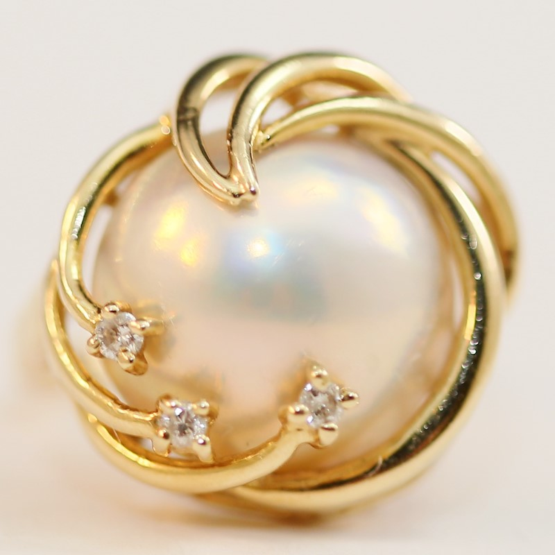 Unique Swirling 14K Yellow Gold Pearl and White Stone Ring Size 6.5