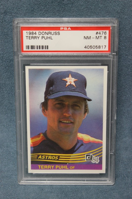 Terry Puhl 1984 Donruss Houston Astros #476 PSA NM-MT 8