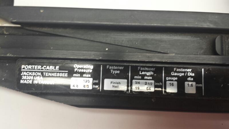 Porter Cable Model FN250B 16 Gauge Finish Nailer