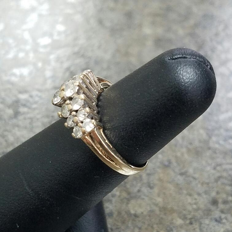 Lady's Diamond Cluster Ring 14 Diamonds .76 Carat T.W. 14K Yellow Gold 2.14dwt