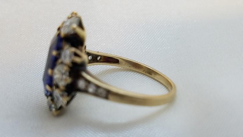 Antique Blue Stone Lady's Stone & Diamond Ring 10 Diamonds 1.08 Carat T.W.