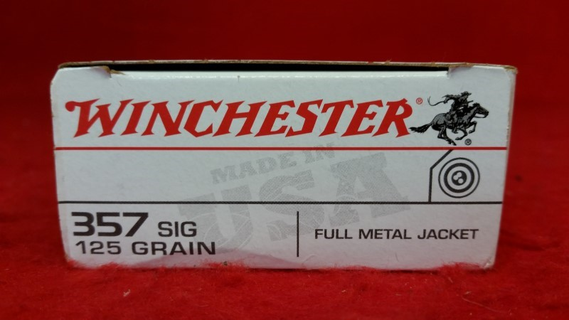 Winchester 357 Sig 125gr FMJ Ammo - 50rd Brass