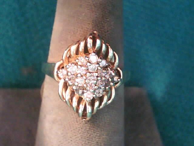 Lady's Diamond Fashion Ring 19 Diamonds .38 Carat T.W. 10K Yellow Gold 3.8dwt