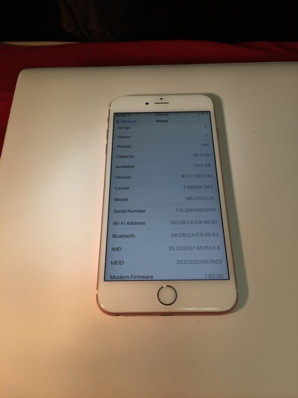 Apple iPhone 6S Plus 64GB Rose Gold *As-Is*