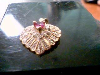 Pink Stone Gold-Stone Pendant 10K Yellow Gold 2.1g