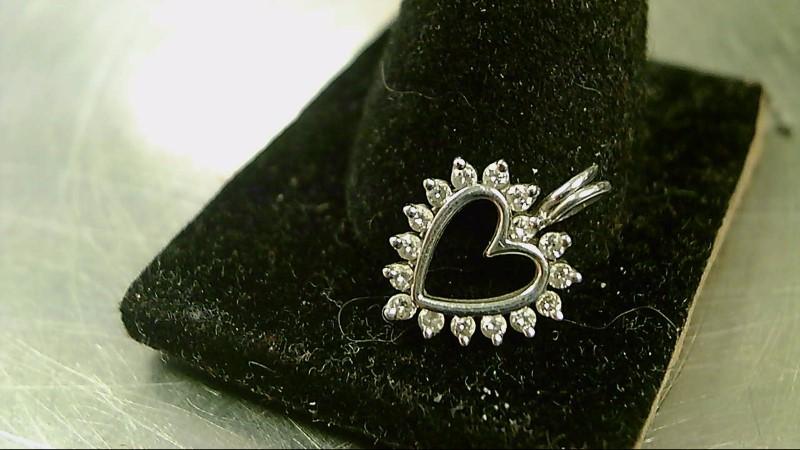 Gold-Multi-Diamond Pendant 16 Diamonds .16 Carat T.W. 10K White Gold 1.1g