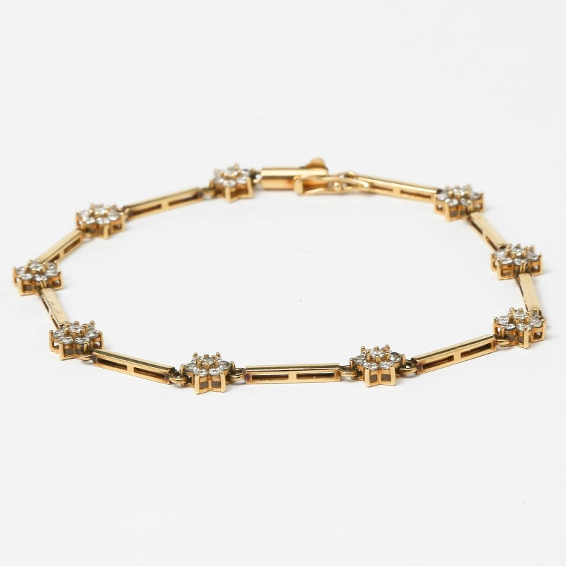 14K Yellow Gold Cubic Zirconia Flower Bracelet