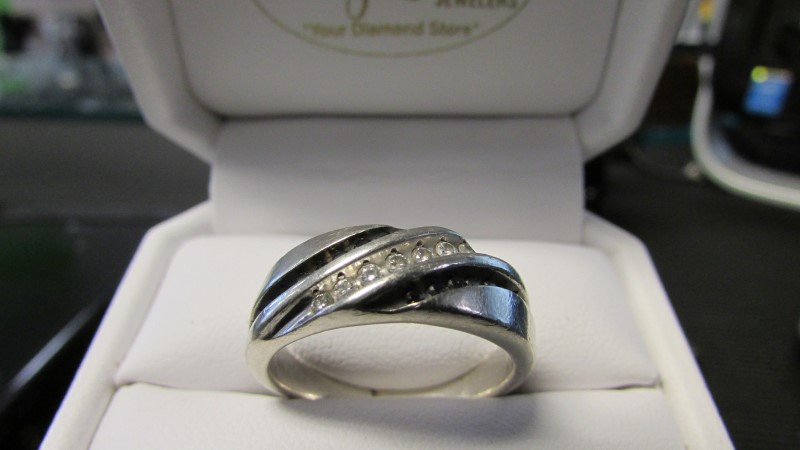 Gent's Diamond Cluster Ring 25 Diamonds .57 Carat T.W. 10K White Gold 6.56g