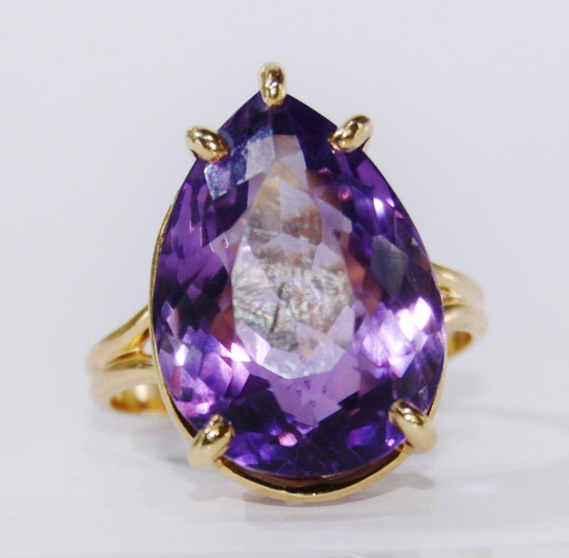 14K Yellow Gold Split Shank Large Pear Amethyst Statement Ring Size 10