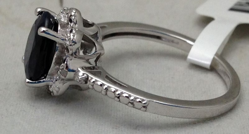 2.2ct Oval Blue Sapphire With .02ctw Two Diamond Engagement Ring S:7