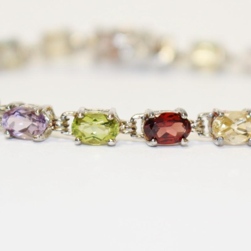 "Women's 7"" Sterling Silver Multi-Colored Stone Bracelet"