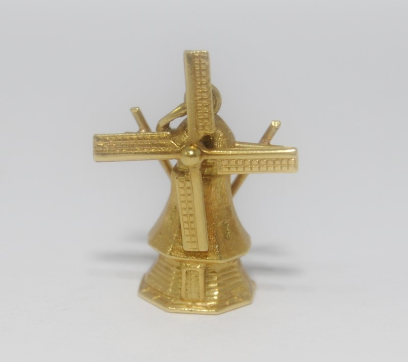 18K Yellow Gold Moving/Spinning Windmill Charm/Pendant