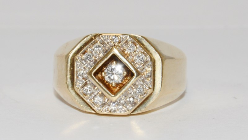 14K Men's Yellow Gold Flush Prong & Pave Set Diamond Ring Size 10.5