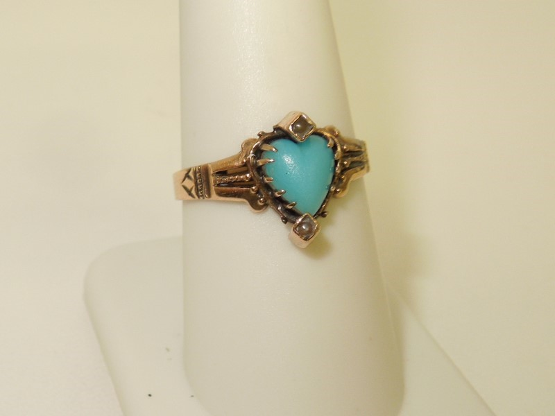Synthetic Turquoise Lady's Stone Ring 10K Yellow Gold 2g
