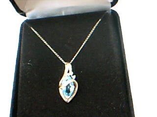 Synthetic Blue Topaz Diamond & Stone Necklace 2 Diamonds .02 Carat T.W.