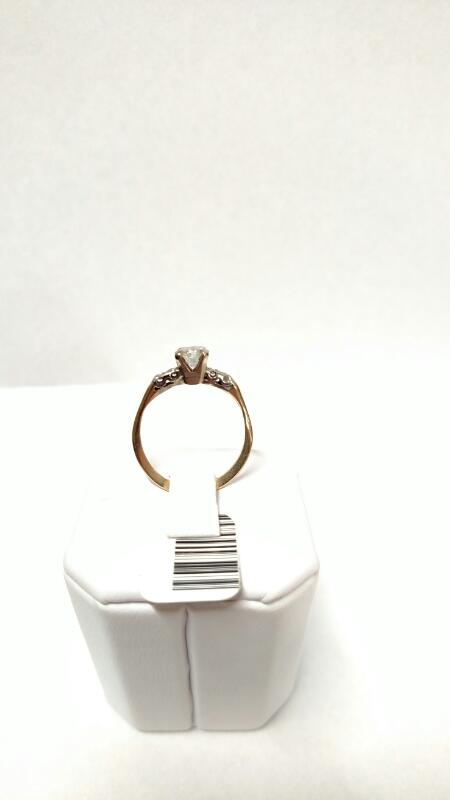 Lady's Diamond Engagement Ring 5 Diamonds .58 Carat T.W. 14K 2 Tone Gold 1.8g
