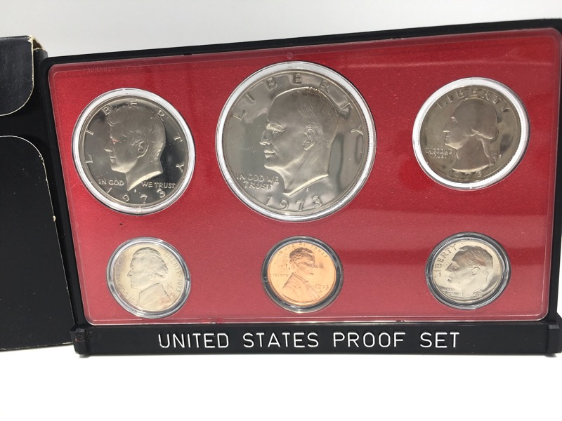1973 S United States Proof Set - Six Coins - In Box Display