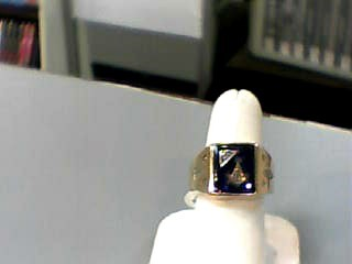 Blue Stone Gent's Stone Ring 10K Yellow Gold 4.8dwt Size:7