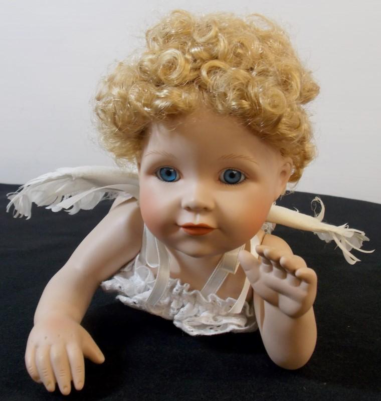 EFFANBEE ANGEL DOLL ON SILK PILLOW