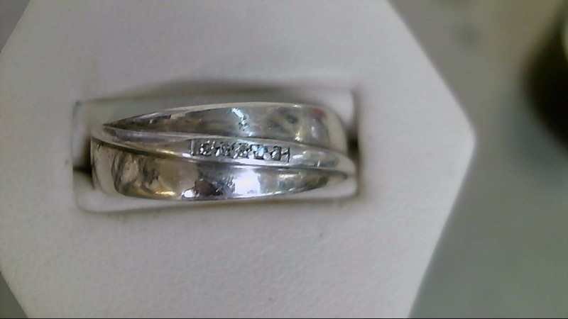 Gent's Silver-Diamond Ring 5 Diamonds .025 Carat T.W. 925 Silver 5.3g