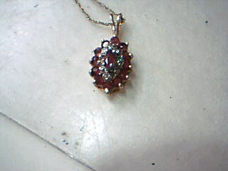 Red Stone Diamond & Stone Necklace 4 Diamonds .04 Carat T.W. 10K Yellow Gold
