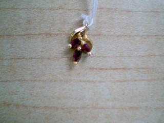 Synthetic Ruby Gold-Stone Pendant 14K Yellow Gold 1g