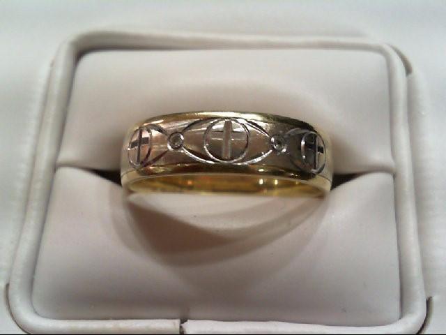 Gent's Gold-Diamond Wedding Band 2 Diamonds .010 Carat T.W. 10K 2 Tone Gold