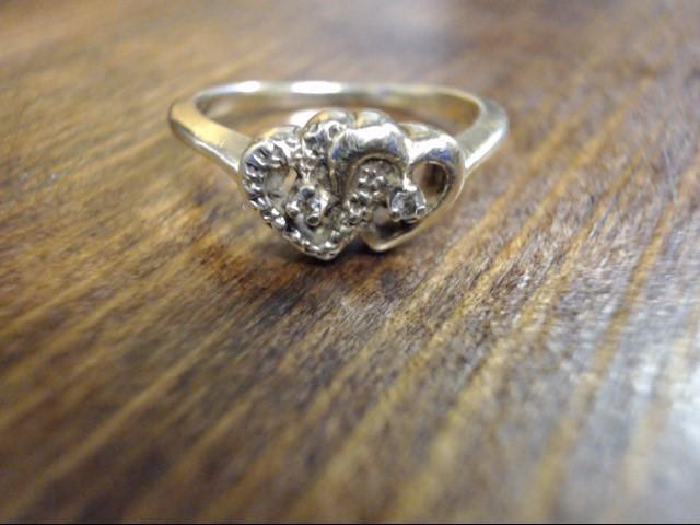 Lady's Diamond Cluster Ring 2 Diamonds .002 Carat T.W. 10K Yellow Gold 1.8g