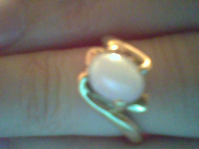 White Stone Lady's Stone Ring 14K Yellow Gold 3.4g