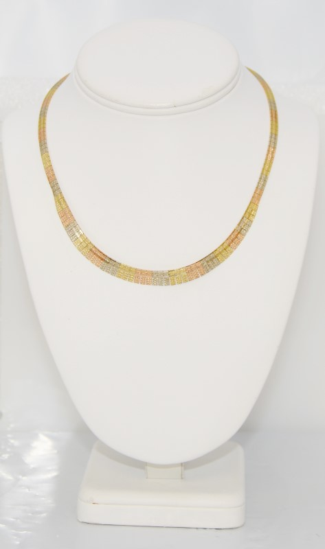 """16"""" Tri-Color Gold Textured Sparkling HEAVY Collar Necklace"""