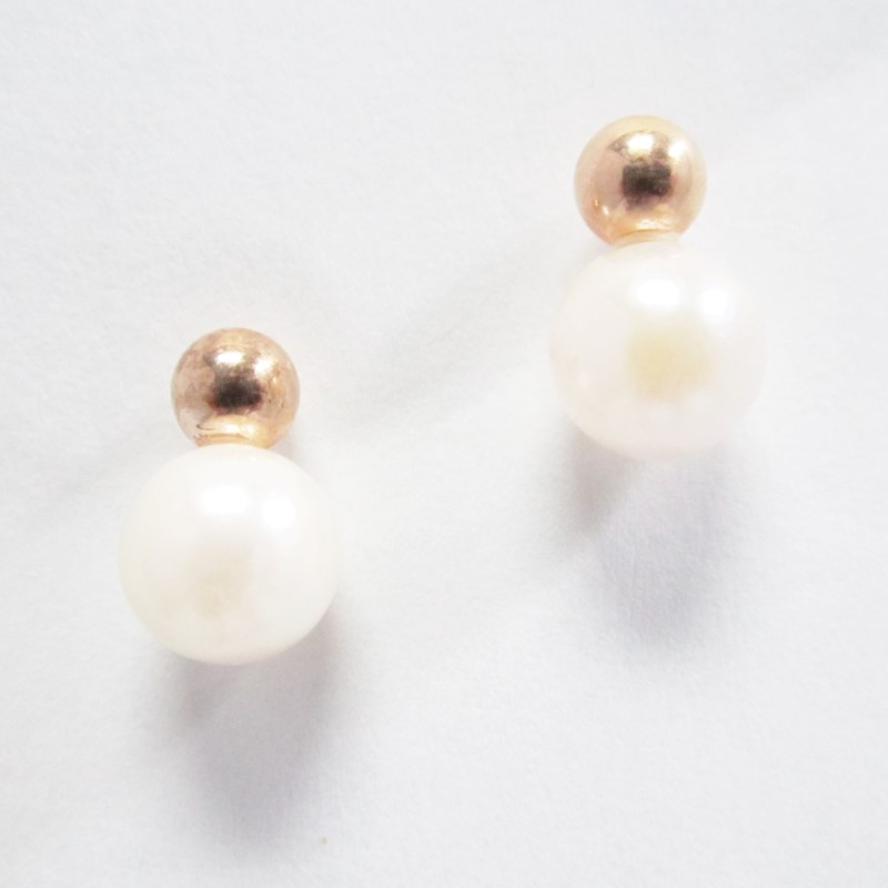 PEARL GOLD STONE EARRINGS, 10K YELLOW GOLD