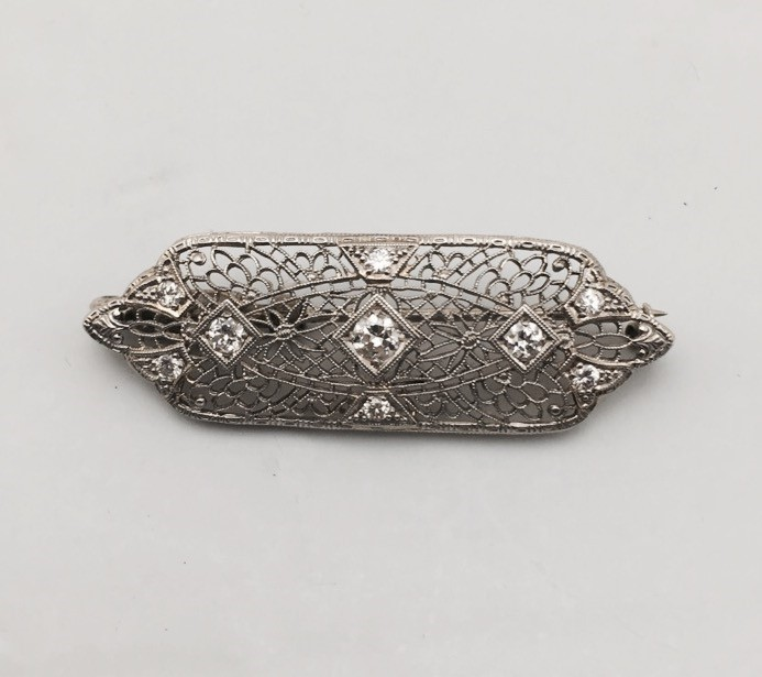 Gold-Diamond Brooch 9 Diamonds .70 Carat T.W. 14K White Gold 5.8g