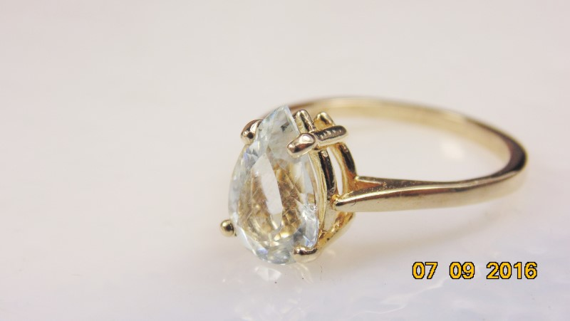 SYNTHETIC AQUAMARINE LADIES RING 14KYG 2.4G SZ5.25