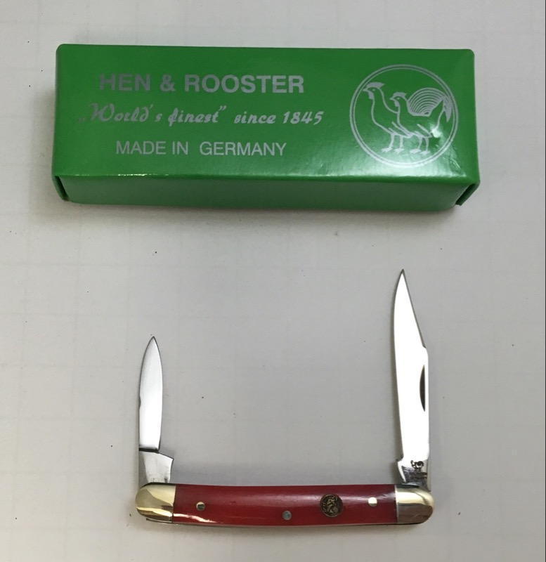 Hen & Rooster Smooth Red Bone Dual Blade Folding Pocket KNife 302-RSB